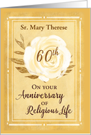 Customizable Name 60th Anniversary of Religious Life Nun White Rose card