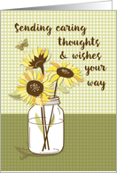 Coronavirus Caring Thoughts with Sunflowers in Mason Jar card