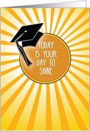 Graduation Day to Shine Congratulations Cap and Sun card