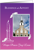 Advent Photo Blessings Wreath Candle Purple to Pink Gradient card