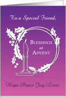 Advent to Friend Blessings Wreath Candle Purple to Pink Gradient card