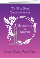 Advent Grandparents Blessings Wreath Candle Purple to Pink Gradient card