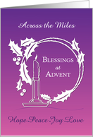 Advent Across the Miles Blessings Wreath Candle Purple to Pink Gradien card