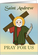 St Andrew Pray for Us Simple Catholic Saint card