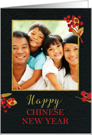 Photo Customizable Chinese New Year Digitally Created Gold and Red card