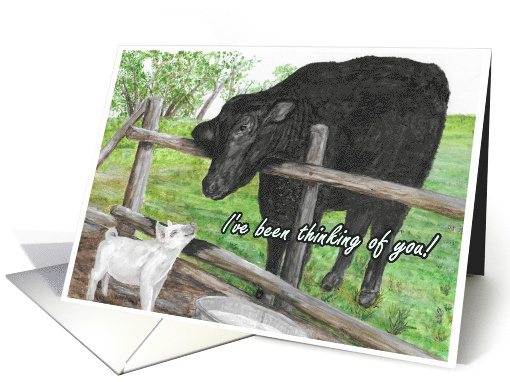 Thinking of You Cow and Pig card (1616178)