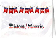Vote for Biden and Harris with Vote Flags and US Flag card