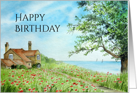 Birthday General Fine Art Poppy Field Watercolor Painting card