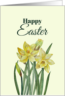 General Happy Easter Yellow Daffodils Watercolor Illustration card
