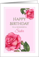 For Sister on Birthday Watercolor Pink Rose Illustration card