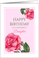 For Daughter on Birthday Watercolor Pink Rose Illustration card