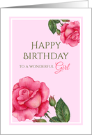 For a Girl on Birthday Watercolor Pink Rose Floral Illustration card