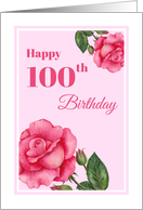 General 100th Birthday Watercolor Pink Rose Floral Illustration card