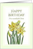 For Aunt on Birthday Watercolor Yellow Daffodils Illustration card