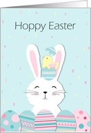 Cute White Easter Bunny and Chicken in Egg card