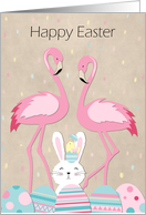 Cute Pink Flamingos Easter Bunny and Сhick card