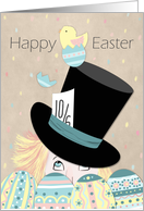 Cute Easter Mad Hatter Eggs and Chick card