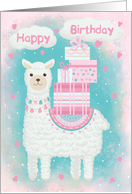 Birthday for Girls Cute Llama with Gifts card