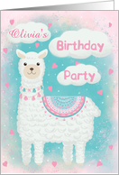 Invitation Birthday for Girl Cute Pink and Turquoise Llama card