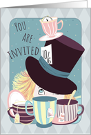 Invitation Birthday Mad Hatter Tea Party card