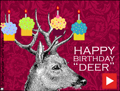 happy birthday, animated, funny, deer, cake, cupcake